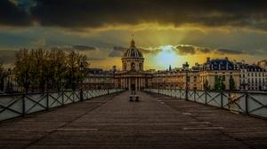 Bridge Building City France Paris Sunset 5930x3336 wallpaper
