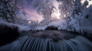 Nature Winter Water Snow Ice Cold Trees Creeks 1920x1280 Wallpaper