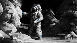 Space Suit Rock 3000x1277 wallpaper