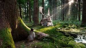 Animal Cgi Child Cute Digital Art Elk Forest Girl 1920x1080 Wallpaper