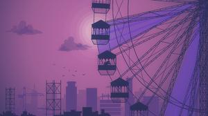 Illustration Orange Background Sunset Purple City Sparrow Sun Silhouette 3840x2160 Wallpaper