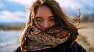 Women Brunette Hair Hair Blowing In The Wind Model Photography Looking At Viewer Scarf Cold Depth Of 3360x2240 Wallpaper