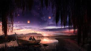 T1na Artwork Boat Willow Trees Sunset Lantern 2560x1440 Wallpaper