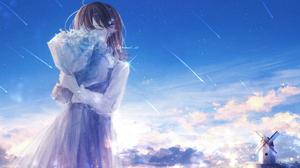 Anime Anime Girls Amenomori Howa Artwork Brunette Dress Flowers Sky 2920x1792 Wallpaper