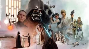 Star Wars Fan Art Collage Star Wars Heroes Star Wars Villains Darth Vader Leia Organa 6750x4500 Wallpaper