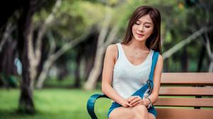 Asian Model Women Long Hair Brunette Sitting White Shirt Trees Grass Jeans Wristwatch Necklace Bench 3840x2561 Wallpaper