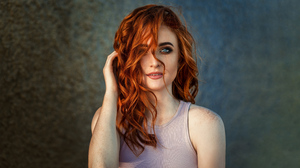 Blue Eyes Freckles Girl Model Redhead Woman 3840x2559 wallpaper