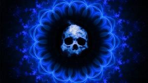 Blue Pattern Skull 3000x2410 Wallpaper
