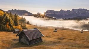 Bavaria Sunbeam Nature Mountain House Hut 2048x1353 wallpaper