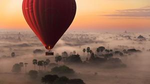 Fog Horizon Hot Air Balloon Landscape Sky Sunrise 2048x1287 Wallpaper