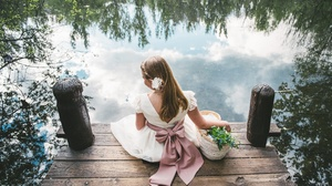 Dress Flower Girl Mood Water 4200x2804 wallpaper