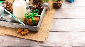 Bottle Christmas Ornaments Cookie Milk Pine Cone 2000x1500 Wallpaper