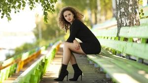 Yuri Yegorov Model Women Brunette Curly Hair Blue Eyes Legs Dress High Heels Bench Sitting Parted Li 2500x1666 Wallpaper