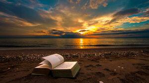 Beach Book Horizon Ocean Sea Sunset 2000x1200 Wallpaper