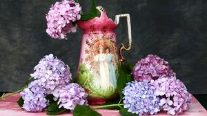 Hydrangea Pink Flower Pitcher Purple Flower Still Life 2400x1600 Wallpaper