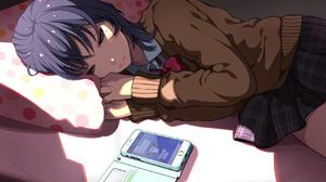 Anime Anime Girls In Bed Green Eyes Smartphone Sweater Purple Hair Pillow Light Effects Shoulder Len 1700x1160 Wallpaper