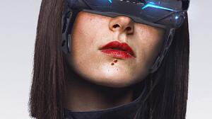 Abrar Khan Women Digital Art Science Fiction Science Fiction Women Brunette Artwork ArtStation Face  960x1329 Wallpaper