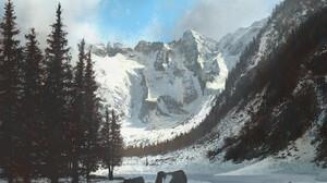 Cloud Mountain Sky Snow Tree 1920x1595 Wallpaper