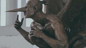 Artwork Sculpture Wings Mask Angel 2207x3311 Wallpaper