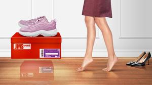 Sneakers Nylon Stockings High Heels Women Barefoot Tiptoe Wooden Floor Artwork 8000x4500 Wallpaper