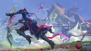 League Of Legends Riot Games Qiyana League Of Legends Diana League Of Legends Janna League Of Legend 1920x878 Wallpaper