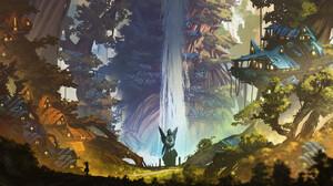 Digital Art Egor Poskryakov Fantasy Art Fantasy City Forest Waterfall Statue Treehouse 3072x1728 Wallpaper