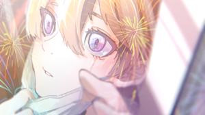 Anime Anime Girls Purple Eyes Blonde Mask Crying Fireworks Depth Of Field Looking Away Tears 1748x1181 Wallpaper