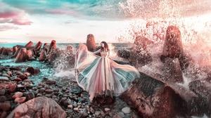 Dress Girl Model Mood Rock Wave Woman 2000x1325 Wallpaper