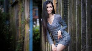 Asian Model Women Women Outdoors Dress Smiling Looking Away Dark Hair Long Hair 2560x1707 Wallpaper