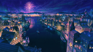 Boat Bridge City Fireworks Night River Stars 2560x1440 Wallpaper