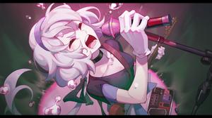 Zombieland Saga Singing Microphone Sweatdrop Black Shirt Closed Eyes Guitar Hairband Anime Girls Zom 3000x2097 Wallpaper