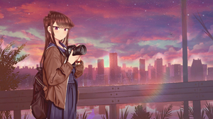 Backpack Camera City Long Hair Purple Eyes Sunset 3840x2160 wallpaper