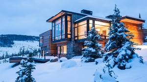 Architecture House Mansion Snow Winter 1920x1200 Wallpaper