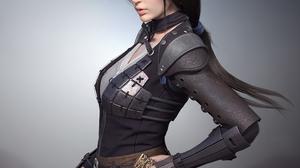 Lin Zhang CGi Women Brunette Asian Long Hair Leather Weapon Dagger Simple Background 1485x1600 Wallpaper