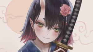 Anime Anime Girls Fantasy Girl Fantasy Art Flower In Hair Pointy Ears Sword Weapon Women With Swords 1920x1600 wallpaper