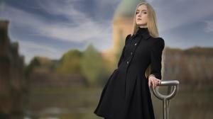 Woman Girl Blonde Long Hair Coat Depth Of Field 3840x2160 Wallpaper