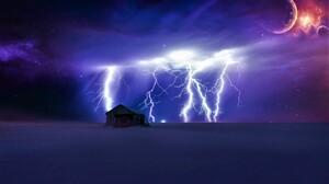 Artistic Digital Art Lightning Planet Shed Sky Winter 1920x1200 wallpaper