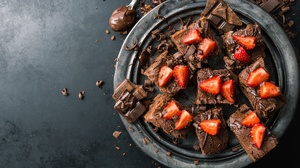 Berry Brownie Chocolate Still Life Strawberry 5472x3648 Wallpaper