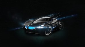 Car Sports Car Supercars BMW CGi BMW Vision Concept Cars Black Background Lights BMW I8 1920x1080 Wallpaper