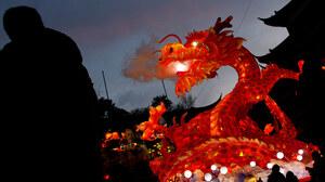 China Chinese New Year Dragon Light Shanghai Silhouette 1920x1080 Wallpaper