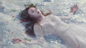Woman Girl Lying Down White Dress Redhead 1920x1347 Wallpaper