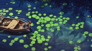 Girl Lake Boat Fishing 4080x1740 Wallpaper