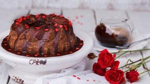 Cake Dessert Red Flower Rose Still Life 5067x3658 wallpaper
