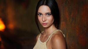 Maxim Maximov Women Mariya Volokh Dark Hair Blue Eyes Looking At Viewer Freckles Portrait 2048x1405 wallpaper