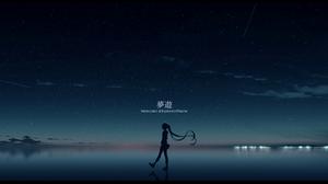 Reflection Pool Starry Night Sky Stars Silhouette Walking Long Hair Anime Girls Anime Women Outdoors 1830x900 Wallpaper