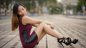 Asian Model Women Long Hair Dark Hair Depth Of Field Black Heels Sitting 3840x2507 Wallpaper