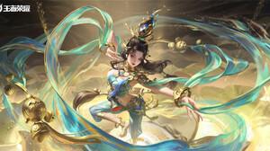 3Q Studio Drawing Women Brunette Long Hair Blue Clothing Shawl Bell Fantasy Art High Angle 1920x977 Wallpaper
