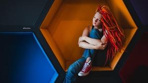 Timur Svetlov Women Dyed Hair Dreadlocks Jeans Converse Sitting Looking Into The Distance 1920x1282 Wallpaper