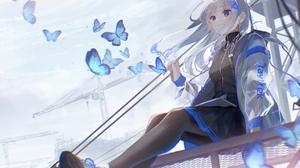 Anime Anime Girls Oyuyu Silver Hair Blue Eyes Grin Butterfly 3272x2222 Wallpaper