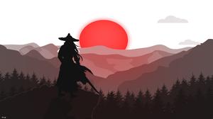 Samurai Red Moon Trees Japanese Art Japan War Katana Digital Art Mountains 1920x1080 Wallpaper